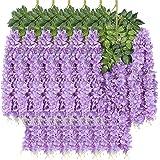 New rui cheng Plantes Suspendues Artificielles, Feuilles Artificielles Fleur de Glycine Pourpre 12Pack Fausse Vigne Plante Su