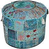 Indian poef kruk vintage patchwork verfraaid met patchwork woonkamer Ottomaanse cover, 46 x 33 cm