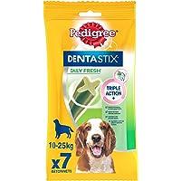 Pedigree Dentastix Fresh - Friandises pour moyen chien, 7 bâtonnets à mâcher pour l'hygiène bucco-dentaire (1 sachet de…