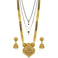 Brado Jewellery Traditional Necklace Pendant Gold Plated Hand Meena 30inch Long and 18inch short with 2 Inch Earring…