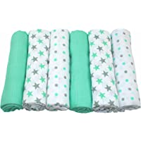 MuslinZ 6pk Baby Muslin Squares Burp Cloths 100% Pure Soft Cotton 70x70cm Mint Star
