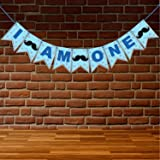 WOBBOX First Birthday Party Banner ( I am One ) Blue Star , Party Decoration Set of one