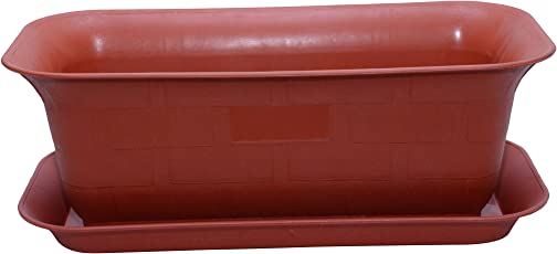 Malhotra Plastic Window Rectangular Planter with Bottom Tray Set (20-inch, Terracotta, Pack of 3 Sets)