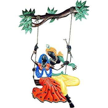 1b7ce544ba5 Shlok Collection Wrought and Cast Iron Radha Krishna Jhula Wall Hanging (38 cm  x 3 cm x 78 cm)