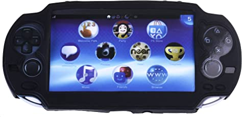 Cosmos Silicone Bumper Protection Case Cover For Playstation Ps Vita (Black) + Lcd Touch Screen Cleaning Cloth