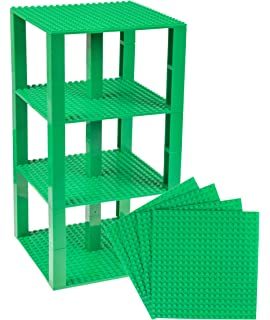 6 Baseplates /& 50 Stackers in Blue Green /& Gray P0546X66PACKSTRUTSMULTI1 Shelves and More Strictly Briks Classic Baseplates 6 x 6 Brik Tower 100/% Compatible with All Major Brands Building Bricks for Towers