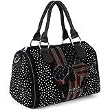 styleBREAKER Damen Bowling Bag mit Strassnieten und USA Totenkopf Strass Applikation, Umhängetasche, Handtasche 02012315