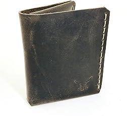 grauer mini Männer Leder Geldbeutel - handgenäht & metallfrei