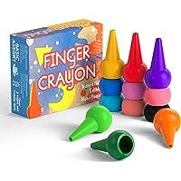 Gibot 12 Crayons a doigt pour enfants surs et non-toxiques Crayons Maquillage pour Enfants