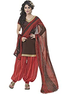 Miraan Unstitched Cotton Patiyala Suit/Dress Material for Women Rani9005_Brown