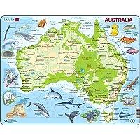 Larsen A31 Carte Physique de l'Australie, édition Anglais, Puzzle Cadre avec de 65 pièces