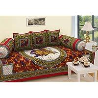 RajasthaniKart 6 Piece 144 TC Cotton Deewan Set - Abstract, Red