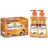 Santoor Plain Bathing Bar, 150gm [Pack of 4] & Santoor Classic Hand Wash with Natural goodness of Sandalwood & Tulsi, 215ml (