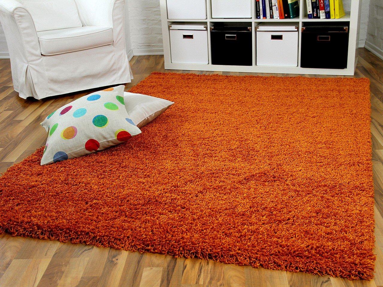 Hochflor Langflor Shaggy Teppich Aloha Orange Terrakotta - Sofort ...