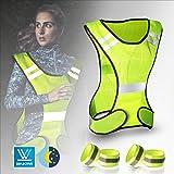 Flexibel Einstellbar Atmungsaktiv Warnweste mit Hoher Sichtbarkeit f/ür Laufen Wandern Reflektierende Weste Motorrad-Nachtarbeit Joggen