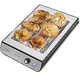 Cecotec Tostapane Orizzontale Turbo Easy toast Inox. 3 resistenze di quarzo, 6 livelli di tostatura, raccogli briciole, 900 W