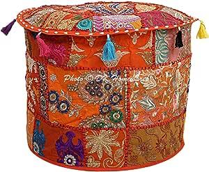 16x16x13 Pollici // 40 cm Solo Copertura DK Homewares Ottomane Pouf Indiano Rotondo Rivestimento Patchwork Arancione Ricamato mobili in Cotone poggiapiedi Pouf Decorativo poggiapiedi Pouf