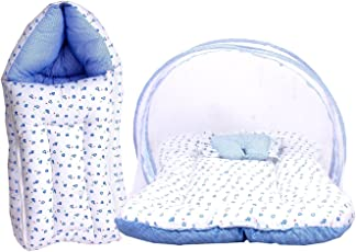 FARETO Baby Mattress with Mosquito Net & Sleeping Bag Combo 0-6 Months (0-6 months, Blue)