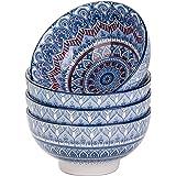 vancasso, Série Mandala, Bols en Porcelaine 4 pièces, Bols à Céréales Soupe Pâte, 15cm, 650ml- Style Royal Bohémien