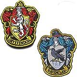 Lot de 2 écussons brodés Harry Potter Maison de Serdaigle et Gryffondor Poudlard avec fermeture Velcro au dos pour manteau, v