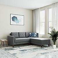 Amazon Brand - Solimo Alen 5 Seater Fabric RHS L Shape Sofa Set (Grey)