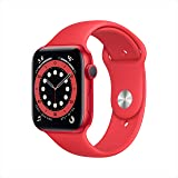 ساعة ابل سيريز 6 سيليكون مع نظام تحديد المواقع ومستشعر نسبة الاكسجين في الدم، 44 ملم - لون احمر