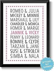 DU & ICH - LIEBESPAARE - Bild für Verliebte Ehepaare & Paare – Rahmen optional – Geschenkidee Geburtstag Jahrestag Hochzeitstag Weihnachten Frau Mann