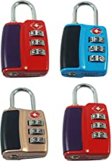 DOCOSS 552 TSA Approved Lock 3 Digit for USA Number Locks (Assorted) - Pack of 4
