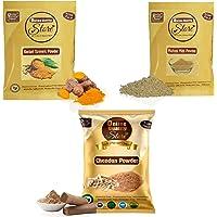 Online Quality Store Chandan Powder Original + Kasturi Turmeric Powder For Face Pack + Multani Mitti Powder (Pack of 3…