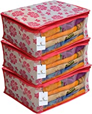 Kuber Industriestm Non Woven Saree Cover Pink Floral Design Set Of 3 Pcs