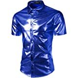 JOGAL Men's Trend Nightclub Styles Metallic Silver Button Down Shirts