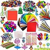 Kit Manualidades niños, Pipe Cleaners Crafts Set, Juego de Manualidades, Limpiadores de Pipa Chenilla y Pompoms con Wiggle Ey