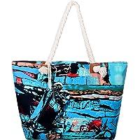 DonDon Große Strandtasche wasserabweisend mit Reißverschluss Abstract Art