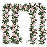 4pcs 220cm Guirlande de Rose Artificielles avec Feuille de Lierre Simulation Rose Fleurs Artificielles à Suspendre Fleur de R