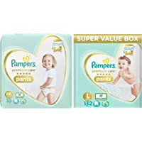 Pampers Premium Care Super Value box pack, Large, 132 Count & Pampers Premium Care Pants Diapers, XXL, 30 Count