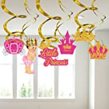 Party Propz Princess Theme Birthday Swirl Hanging Decoration 6Pcs for Princess Birthday Party Supplies Or Girls Birthday Deco