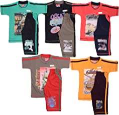 1ly Shirts Boys Fancy Half sleeve T-shirt with shorts -5pcs pack with Attractive colours and Print designs