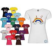 Maglietta personalizzata donna Andrà Tutto Bene t-shirt disegno Arcobaleno vari colori