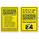 DENKZETTEL - SCHEISSE GEPARKT - 2 Blocks DIN A7 a 50 Blatt Papier - als frecher Hinweis für Falschparker - von TypeStoff (2 x DIN A7)