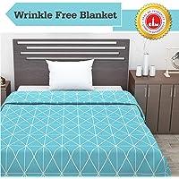 Divine Casa Ocean Microfibre Single Blanket, Abstract- Sky Blue & White