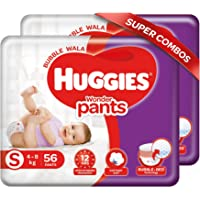 Huggies Wonder Pants, Small Size Diapers (4 - 8 kg), Combo Pack of 2, 56 Counts Per Pack, 112 Counts