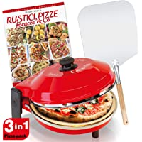 SPICE - Forno Pizza CALIENTE con pietra refrattaria 32 cm 400 gradi Resistenza circolare + Pala 66 cm in alluminio alimentare + Ricettario Rustici Pizze Focacce