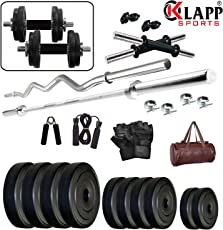 Klapp 20 Kg & 24 Kg PVC Home Gym Set with Leather Gym Bag & Accessories …