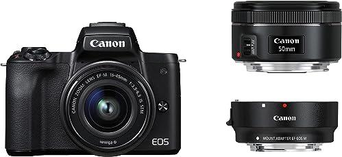 Canon EOS M50 schwarz EF-M 15-45 + EF Adapter + EF 50 1.8 Kit