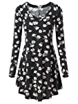 HUHOT Tunic for Women Fall Casual Long Sleeve Blouse V Neck with Flower