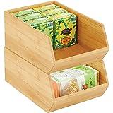 mDesign boite de rangement empilable – boite en bambou polyvalente pour placards de cuisine – caisse en bois de bambou écolog