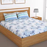 Story@Home 120 TC Cotton Candy Collection Floral 1 Double Bedsheet and 2 Pillow Cover - Blue