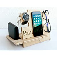 Docking Station in Legno, Organizzatore da Scrivania per Lui - Idea Regalo Uomo, Svuota Tasche, Supporto Smartphone…