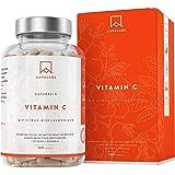 Natürliche Vitamin C Kapseln - über 1000 mg pro Tagesdosis [ 1027,5 mg ] - Acerola, Hagebutten, Camu-Camu Extrakt und Zitrus-Bioflavonoiden Komplex - 180 Kapseln - Hochdosiert - 100% vegan