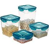 Amazon Brand - Solimo Plastic Food Storage Container Set, (4 pieces, 800ml, 1.5L, 2.5L, 3.5L)-Transparent